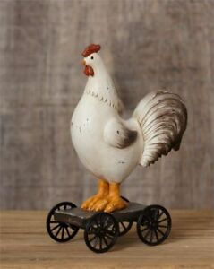 Primitive Vintage Looking Rolling Rooster Chicken Free Ship
