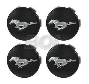 2015 2020 Genuine Ford Mustang Black W Chrome Running Horse Wheel Center Caps