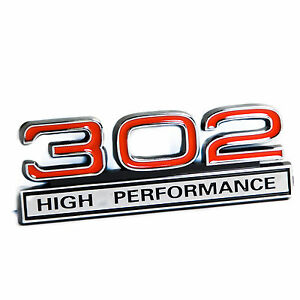 Ford Mustang 5 0l 302 High Performance Fender Emblem In Chrome Red 4 X 1 5