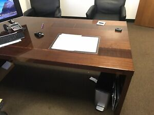 Complete Office Set Italian Made Walnut Wood 4 Desks Chairs Great Condition