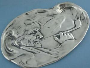 Sterling Unger Brothers 7 3 4 Tray Art Nouveau Man Smoking A Pipe No 0395