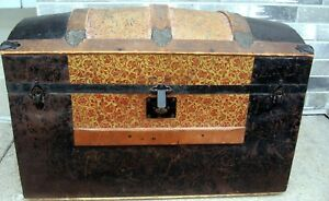 Antique Victorian Domed Top Steamer Trunk Chest Treasure Stagecoach Chest 1800 S