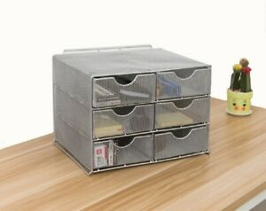 Metal Wire Mesh Office Supply Storage Organizer With 6 Sliding Drawers silver