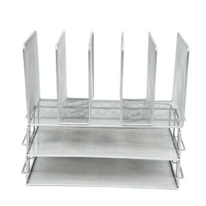 Pro Space Horizontal Vertical Desktop Mesh File Organizer 2 tier File Trays