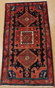 Persian Tarom Tribal Hand Knotted Wool Navy Red Powerful Oriental Rug 4 4 X 7 9