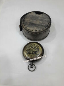 Nautical Push Button Compass Rose London Compass With Black Leather Box