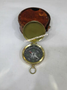 Nautical Brass Push Button Compass Marine Vintage With Brown Leather Case