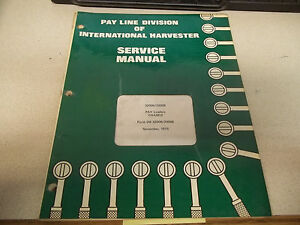 International Harvester Pay Line Div Service Manual Pay Loaders Chassis