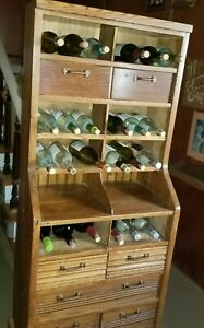 Oak Post Office File Cabinet Documents Wine Bottles