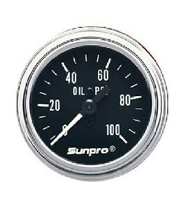 Sunpro 2 Mechanical Oil Pressure Gauge Black Chrome Bezel 0 100 Psi Cp7977