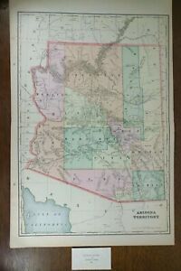 Arizona Territory 1900 Vintage Atlas Map 14 X22 Old Antique Grand Canyon Tempe