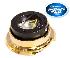 Nrg Steering Wheel Quick Release 2 8 Black Body Chrome Gold Ring Srk 280bk cg