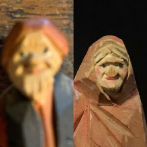 Hand Carved Old Couple Man Woman Wood Miniature 3 Sculpture Figurine Dolls