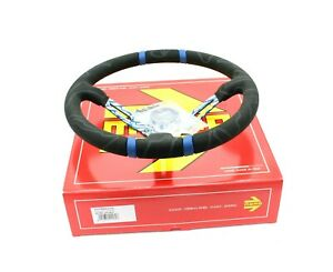 Momo Ultra Blue 350mm Suede Racing Drift Competition Steering Wheel Genuine New