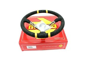 Momo Ultra Black 350mm Suede Racing Drift Competition Steering Wheel New
