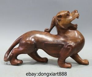 9 5 China Red Wood Handwork Carving Fengshui Animal Foo Dog Lion Kylin Sculpture