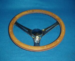 Vintage Wood 3 Spoke Steering Wheel Chevelle Camaro Chevy Ford Dodge Amc Buick