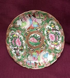 Rose Medallion Hand Paint Chineseporcelain Enamel 5 Trinket Dish Early No Mark