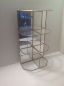 Vintage Brass Glass Curio Display Cabinet Case W 4 Shelves Mirror Back 2