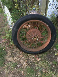 Ford Model Era A T Gum Dipped Firestone White Wall Tire Spoke Wheel Vintage