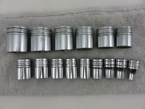 Snap On Shallow Socket Set Tw Series Sae 1 2 Dr 15pc 6pt 3 8 1 1 4 Vintage