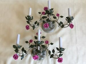 Vintage Sconces Pair Shabby French Country 3 Candle Tole Roses Flower