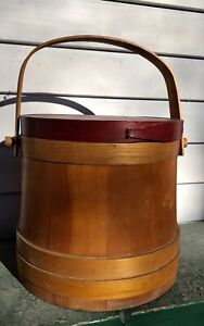 Vintage Lane Mfg Co Firkin Sugar Bucket With Red Painted Lid Swanzey Nh