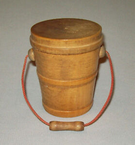 Old Antique Vtg 19th C 1870s Miniature Turned Maple Wooden Bucket Or Pail W Lid