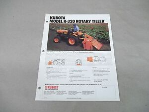 Kubota Tractor K 320 Rotary Tiller Sales Sheet With Specifications Free Shipping