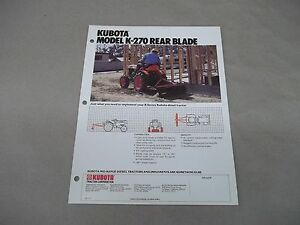 Kubota B Series Tractor K270 Rear Blade Sales Sheet With Specifications