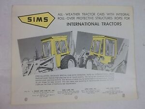 Sims International Harvester 2400a Backhoe Loader All Weather Cab Brochure