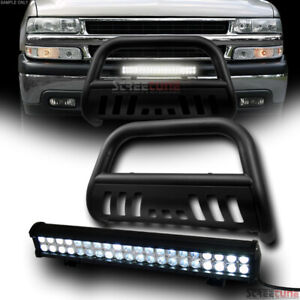 Matte Blk Steel Bull Bar Guard 120w Cree Led Fog Light 99 Chevy Suburban Tahoe