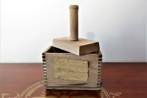 Vintage Butter Mold Press Wood Dovetail Joints 1920 With Attached Note