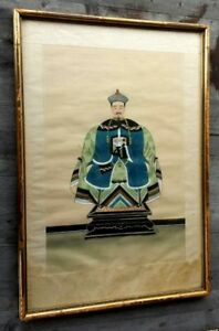 Antique Chinese Silk Painting Of Court Robed Chinese Scholar Framed