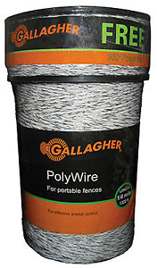 Gallagher North America Electric Fence Polywire Ultra White 1 320 ft G620300