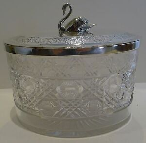 Antique English Cut Crystal And Silver Plated Biscuit Box C 1890