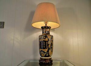 Famille Noire Chinese Porcelain Vase Lamp By Frederick Cooper 35 Tall Rose
