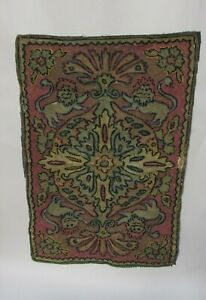 Antique Needlework Tapestry Persian Indian Asian W Lions