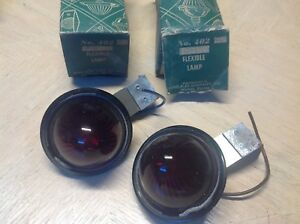 Pair Miro Flex 402 S Marker Light Nib Vintage Truck Bus Lamp Red Glass Lens