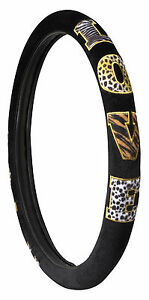 Animal Print Patchwork Love Steering Wheel Cover Black Color
