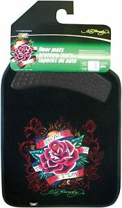 Ed Hardy Dedicated To The One I Love Floor Mats 2 Pc Set Black Carpet Brand New