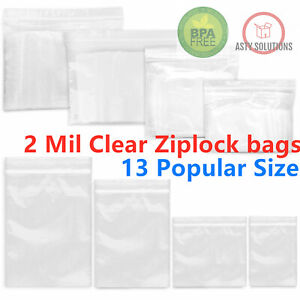 Clear Reclosable 2 mil Zip Lock Plastic Bags Ziplock Baggies Poly Jewelry Bags