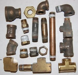 Brass Pipe Fittings Large Lot 1 4 inch Misc Good Used Fittings