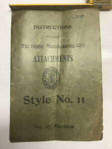 1904 Singer Attachments Style No 11 Puzzle Box Manual Antique Sewing Instruction