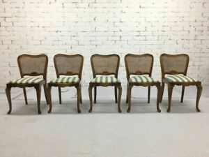 A Very Charming Set Of 5 Vintage French Country Louis Xv Style Cane Back Dining
