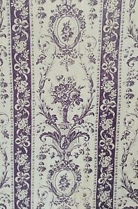 19th Century French Linen Cotton Lavender Floral Bow Toile Fabric Madaillion