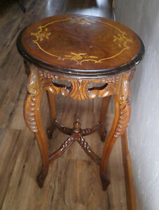 Antique Vintage French Carved Walnut Marquetry Inlay End Lamp Table Plant Stand