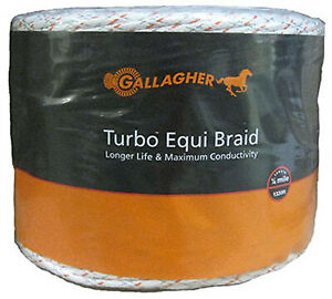 Gallagher North America Electric Fence Turbo Equibraid Ultra White 1 16 in X