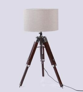 Nautical Retro Style Tripod Wooden Table Lamp Stand Vintage Home Decor