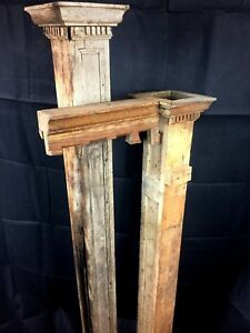 2 Very Rustic Antique Oak Newel Posts Columns Balusters Architectural Salvage